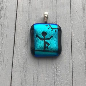 Dichroic Pendant, Yoga Blue and Green Necklace